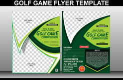 高尔夫球赛飞行物和杂志封面模板 库存图片