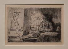 高尔夫球运动员从1654 伦布兰特 库存图片