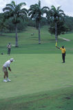 高尔夫球运动员在多巴哥 免版税图库摄影
