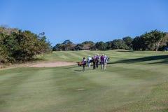 高尔夫球运动员小型运车航路 库存图片