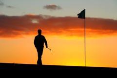 高尔夫球运动员早晨 库存图片
