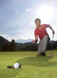 高尔夫球运动员狂喜 库存图片