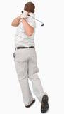 高尔夫球运动员背面图  免版税库存图片