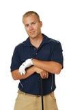 高尔夫球运动员英俊的男 免版税库存照片