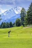 高尔夫球运动员, Crans蒙大拿,瑞士 免版税库存图片