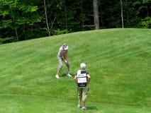 高尔夫球运动员说明少许突围 免版税库存照片