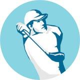 高尔夫球钢板蜡纸的高尔夫球运动员发球区域 免版税库存图片