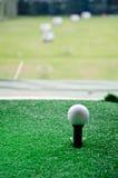 高尔夫球长的发球区域 免版税库存照片