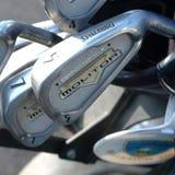 高尔夫球集合的看法 免版税图库摄影