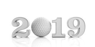 高尔夫球2019年 在白色背景2019隔绝的新年 3d例证 免版税图库摄影