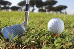 高尔夫球轻击棒和球 免版税库存图片