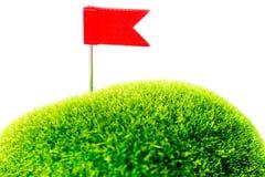 高尔夫球绿色红旗 免版税图库摄影