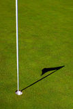 高尔夫球Pin和影子 免版税库存图片