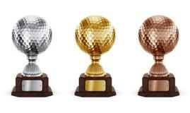 高尔夫球trophys 图库摄影