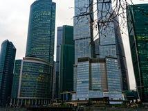 高层建筑物、摩天大楼和办公室商业中心`莫斯科市` 库存照片