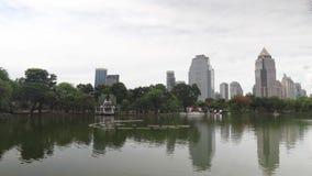 高层建筑物在街市和围拢由植被湖在公园 生态和大都会建筑学 股票视频