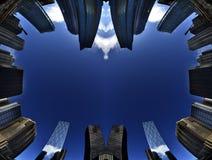 高层摩天大楼大厦在有蓝天的一个大城市 图库摄影