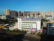 高层建筑物在海口,海南岛 免版税库存照片