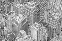 高层建筑物的黑白图片,曼哈顿, NYC 免版税库存图片