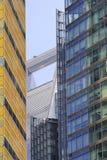 高层建筑物细节在上海 免版税库存照片