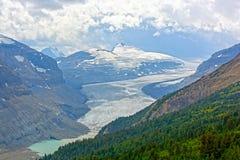 高山冰川在夏天 免版税库存图片