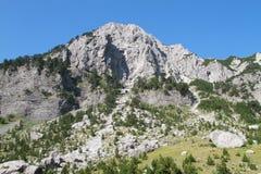 高山在Jezerce,北部阿尔巴尼亚 库存照片