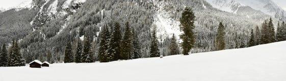 高山小屋和森林冬天风景视图在Antholz湖,意大利阿尔卑斯,南提洛尔附近的阿尔卑斯 免版税库存照片