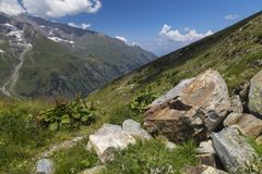 高山山风景在夏天 奥地利的阿尔卑斯 免版税库存照片