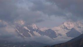 高山峰顶landskape背景 少女峰,Bernese高地 远足概念的阿尔卑斯、旅游业和冒险 股票视频