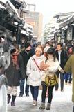 高山市,日本- 1月19 :雪的高山市城市  库存图片