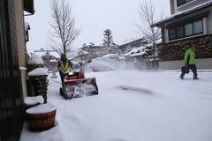 高山市,日本- 1月19 :在takayama城市espec的一多雪的天 免版税库存照片