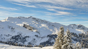 高山手段滑雪 库存照片