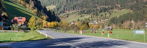 高山村庄Hinterkoflach 奥地利carinthia 免版税图库摄影