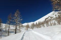 高山横向冬天 库存照片