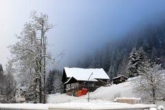 高山横向冬天 库存图片