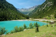 高山湖横向山夏天 免版税库存图片