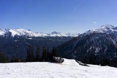 高山滑雪胜地Serfaus Fiss Ladis在奥地利 免版税库存图片