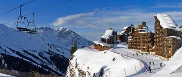 高山滑雪跟踪 库存照片
