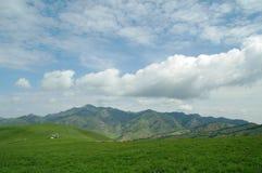 高山牧场地天空 库存照片