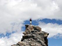 高山登山人蒙大拿 免版税库存照片