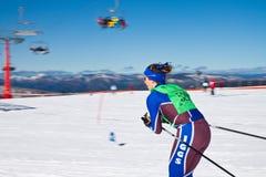 高山的高山的滑雪者- 免版税库存照片