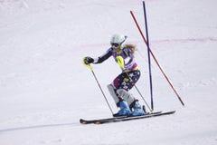 高山美国萨拉schleper滑雪者 库存图片
