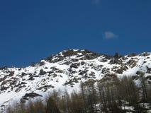 高山解冻 红色晃动在春天的山 库存图片