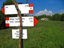 高山远足在特伦托自治省 免版税库存照片