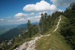 高山陡峭的山峰在夏天 免版税图库摄影