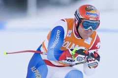 高山滑雪世界杯- Val加迪纳下坡训练 库存照片