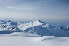高山davos使日落冬天环境美化 免版税图库摄影