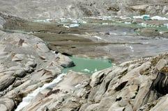 高山Furka冰川融解 库存照片
