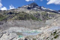 高山Furka冰川融解 图库摄影