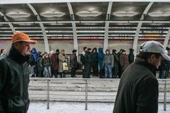 高峰时间在冬天 免版税库存照片
